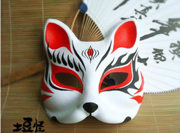 Painting Faces Australia - Hand-Painted Upper Half Face Japanese Fox Mask Anime Black Flame Paper Pulp Masquerade Cosplay Party Mask Adult Fit Free Shipping