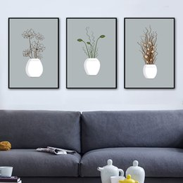 Canvas Prints For Living Room Australia - Gohipang Potted Plant Flower Wall Art Canvas Painting Nordic Posters And Prints Wall Pictures For Living Room Canvas Art Print