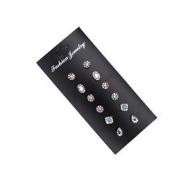 Black Sapphire Stud Earrings UK - Vintage diamond-studded turquoise water drop shape 6 pairs of earrings earrings combination turquoise stone rhinestone set