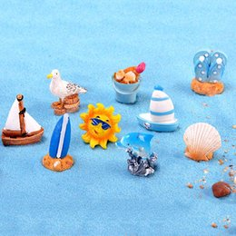 $enCountryForm.capitalKeyWord Australia - 11pcs Summer Beach Boat Star Sun Dollhouse Decor Resin Crafts Terrarium Figurines Resin Fairy Garden Miniatures bonsai Tools jardin gomes