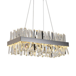 modern kitchen island lighting 2019 - Luxury rectangle crystal chandelier for dining room kitchen island lamps hanging modern led chandeliers indoor lighting