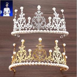 gold pearl crown 2019 - 2019 Royal Designer Gold Sliver Wedding Tiaras With Pearls Romantic Crystal 15*7.5 Headpieces For Wedding Bride Bridesma
