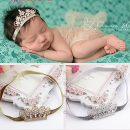 Fabric Boutique Australia - Baby Infant Luxury Shine diamond Crown Headbands girl Wedding Hair bands Children Hair Accessories Christmas boutique party supplies gift Y