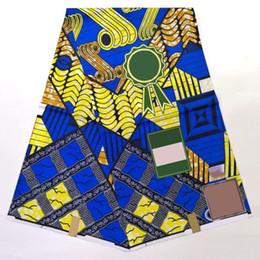 Discount nigerian fabric prints - High Quality 100% cotton Africa Nigerian Prints Kent Batik Fabric Real Dutch Hollandais Wax Fabric for women Dress 6 yar