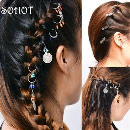 $enCountryForm.capitalKeyWord Australia - SOHOT Ethnic Set Dreadlocks Locs Women Hairwear Tibetan Silver Color Colorful Bead Leaf Chic Pendant For Girl Weave Plaits Gift