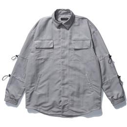 Wholesale hip hop dress shirts for sale – dress 2020 zipper Long Sleeve Dress Shirts Hip Hop Casual Button Donw Streetwear Shirt Tops Fashion Shirts