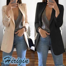 Wholesale women long summer cardigans for sale - Group buy Summer Autumn Women Coat Clothes New Casual Women s Slim Long Sleeves Turn Down Collar Cardigan Mid Solid Coat