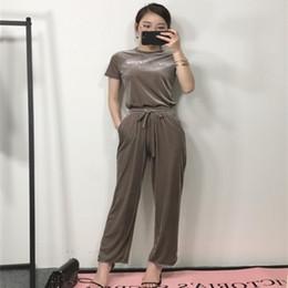 $enCountryForm.capitalKeyWord Australia - 19ss Balmann sportswear style female drop gold velvet wide-leg pants Brand Designer suit Fashion Luxury High Quality Casual sportswear
