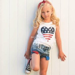$enCountryForm.capitalKeyWord Australia - Summer Sleeveless 4th July kids Tassel Top T Shirt & denim Shorts Jeans Outfit 2pcs Girl Clothing 1-6T Toddler Kid Baby Girls Clothes Set