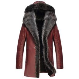 genuine leather collars 2019 - Genuine Leather Jacket Winter Jacket Men Real Raccoon Fur Collar Sheepskin Coat for Men Wool Fur Liner Jackets Plus Size