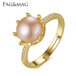 Wedding Gifts Silver Boxes Australia - PAG&MAG Brand Crown Shape Eight Paws Natural Pearl 8-8.5mm 925 Sterling Silver Wedding Rings for Women Gift Box Free Wholesale