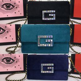 Blue Shiny Bags Australia - New style ultra mini velvet shoulder bag classic G style shiny crystal handbag Messenger bag luxury women's Real leather bag 3colors