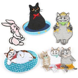 203eb5dad Rabbit Bunny Cats Embroidery Patches Cartoon Fat Cat Sew Iron On Applique Patch  Badge DIY Badges For Baby Kids Children Clothes Jeans Bag
