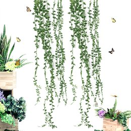 string gardens Canada - Artificial Flower String PU Fake Tear of Lover DIY Green Wall Hanging Plant Succulents Garden Wreath Home Party Wedding Decor