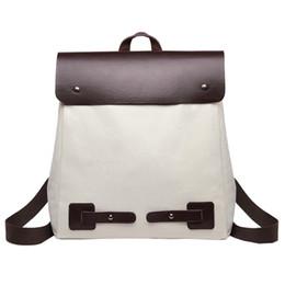 Discount backpack school tote bag - Vintage Women Student Patchwork Canvas Shoulder Bag School Bag Tote Backpack PU femal shoulder bags New