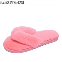 $enCountryForm.capitalKeyWord Australia - 2018 new Plus Size 36-41 Winter Fashion Women Home Slippers Faux Fur Warm Shoes Woman Slip on Flats Female Fur Flip Flops