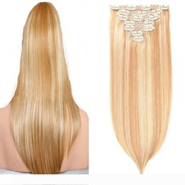 clip extensions mixed color UK - Piano color 100g virgin thick clip in hair extension 7pcs clip in human hair extensions straight 4A 4B 4C