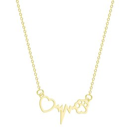 $enCountryForm.capitalKeyWord Australia - Trendy Heart Ecg Dog Pattern Pendant Necklaces Fashion Stainless Steel 45cm Gold Silver Chain Necklaces Collars Jewelry