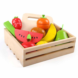cutting fruit toys kids UK - Learning Education Wooden Toys Fruit Cut Music Boxed Montessori Educational Wooden Pretend Play Toys For Children Kids Gift