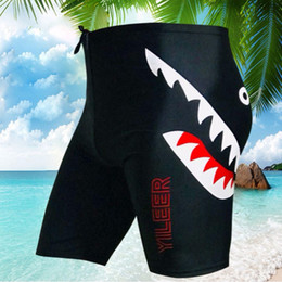$enCountryForm.capitalKeyWord Australia - Shark Swimming Trunks Men Drawstring Breathable Nylon Spandex Fifth Pants Swimwear Swimsuit Shorts Diving Surfing Size 4XL 5XL