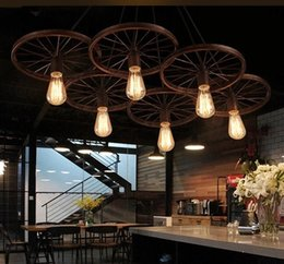 14 inch bicycle wheel NZ - Black Retro Vintage Industrial Pendant Lights Style Loft Rusty color Pendant Lamp Bicycle wheels light Fixtures
