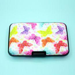 $enCountryForm.capitalKeyWord Australia - Butterfly Prints Aluminum Wallet Anti Rfid Scanning Business Id Credit Card Case Box Women Card Holders Feather Pattern