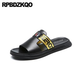 05fd336b8155 Slip On Slides Shoes Slippers 2018 Black Men Sandals Leather Summer  Designer Casual Genuine Sneakers Open Toe Fashion Outdoor