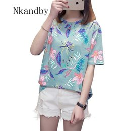 Wholesale Nkandby Flower Print Summer T shirt For Woman Fashion Casual Short sleeve Ladies Tshirt New Bamboo Plus size Basic Tops XL