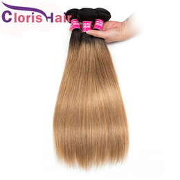 weave vendors Australia - Two Tone 1B 27 Colored Human Hair Peruvian Virgin Silky Straight Hair Weave 3 Bundles Honey Blonde Ombre Sew In Extensions Reliable Vendors