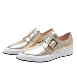Platforms Shoes For Women Australia - New Gold White Women's Shoes Pointed Platform Shoes Flat-bottom Slip On Loafers For Women Deep Mouth Single