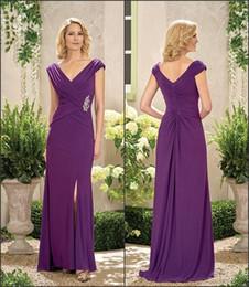 Discount mother bride wedding mermaid dresses - Purple Mother Of The Bride Dresses V Neck Side Split Ruffle Elegant Mother Of Groom Party Dresses Floor Length Wedding G