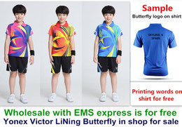 Ems Clothes Australia - Wholesale EMS for free, Text printing for free, new kid children badminton shirt clothes table tennis T sport shirt clothes 21