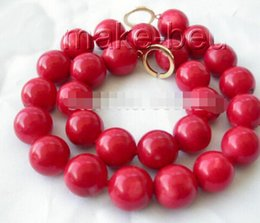 Big Bead Red Coral Australia - FREE SHIPPING + Amazing WOW big 16MM ROUND natural RED CORAL BEADS necklace