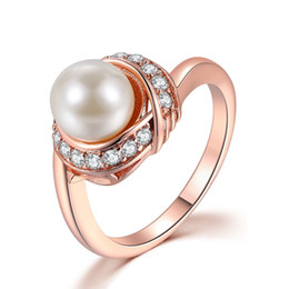pearl cluster rings white gold 2019 - MGFam (289R) Beauty Round Pearl Rings Jewelry For Women Rose Gold Plated Fashion Jewelry Engagement Party Gifts