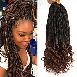 $enCountryForm.capitalKeyWord Australia - Crochet Hair Black Box Braids Hair Ends Ombre Brown Kanekalon Loose Wave Synthetic 18 Inch Box