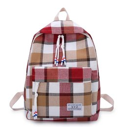 casual canvas women backpack red NZ - 2020 New Canvas Women backpack Female Plaid School Bags for Teenage Girls High quality Travel Backpacks Harajuku Book Mochilas