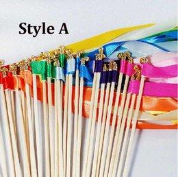 $enCountryForm.capitalKeyWord Australia - Free shipping 50pcs  lot Multicolour Wedding Ribbon Stick   Sparklers Fairy Magic Wands with Bells Wedding Decorative