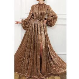 Long sLeeve keyhoLe prom dress online shopping - Sparkling Gold Sequins Evening Dresses High Neck Split Prom Dress Shiny Long Sleeves Floor Length Women Party Dresses