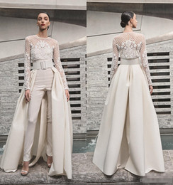 Wedding Dress Satin Detachable Train Australia - 2019 Beach Wedding Dresses Women Jumpsuits With Detachable Skirt Satin Sweep Train Sweetheart Country Bridal Gowns With Jacket Long Sleeve