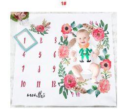 Venta al por mayor de 16 estilos Bebé mensual Hito Edad Manta Niño niña Años Gran foto Apoyo para recién nacido O Niño Mamá Papá Recuerdo