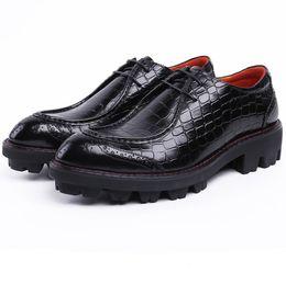 Tan Mens Dress Shoes Leather Australia - Serpentine Black   Brown Tan Platform Business Shoes Genuine Leather Wedding Shoes Mens Dress Shoes