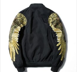 fiber coupled Australia - Mens Designer Embroidery Jacket Couple Thin Wings Print Baseball Clothing For Men And Women Bomber Jacket Men Loose Jacket Coat Hombre