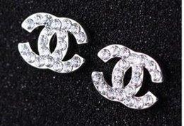 Designer de luxo Brincos Para As Mulheres Jóias Brilho Cor Prata A + CZ Cristal Ouro Carta Dupla Brincos para Festa de Casamento Presente venda por atacado