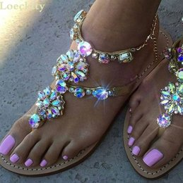 $enCountryForm.capitalKeyWord Australia - 2018 Woman Sandals Women Shoes Rhinestones Chains Explosion Water Diamond Chain Flat Roman Shoes 5 colors Large Size 34 -47