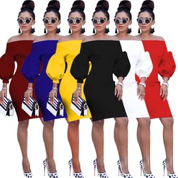 Wholesale stage dresses clubwear resale online – New Style Autumn Fashion Womens Sexy Ruched Off Shoulder Lantern Sleeve Bodycon Clubwear Stage Midi Dress Party Club Dress