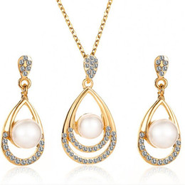 Discount bridal jewelry drop necklace - New Arrival Water drop Gem Woman Crystal Jewelry Sets Necklace Earrings Pendant Cute Bridal Wedding Sets For Party Gifts