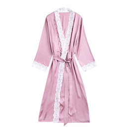2019 Summer Satin Robes For Brides Wedding Lace Robe Sleepwear Silk Pijama  Long Nightgown Women Bridesmaid Kimono Bathrobe c9743196f