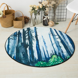 Red Living Room Chairs Australia - Watercolor Forest Landscape Printed Round Carpet Rugs Nordic Style Living Room Chair Computer Floor Mats Non-Slip Home Decor Mat