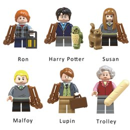 children trolley wholesale Canada - Harry Potter Trolley Witch Malfoy Susan Bones Remus John Lupin Ron Weasley Mini Action Figure Model Building Block Brick Toy For Children