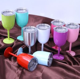 goblet wine glasses wholesale Canada - 10oz Wine Glasses 304 Stainless Steel Double Wall Vacuum Insulated Cups With Lids Red Wine Tumbler cups Cocktail glass goblet 9 Colors